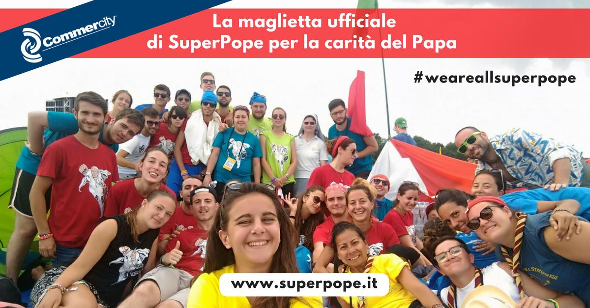 SuperPope T-shirt, maglietta ufficiale per la carità del Papa - Commercity Blog